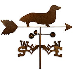 Handmade Long Hair Dachshund Dog Copper Weathervane