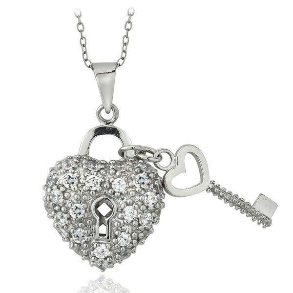 Icz Stonez Sterling Silver CZ Heart and Key Necklace