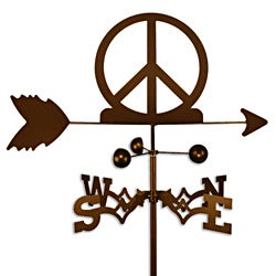 Handmade Woodstock Peace Sign Symbol Weathervane