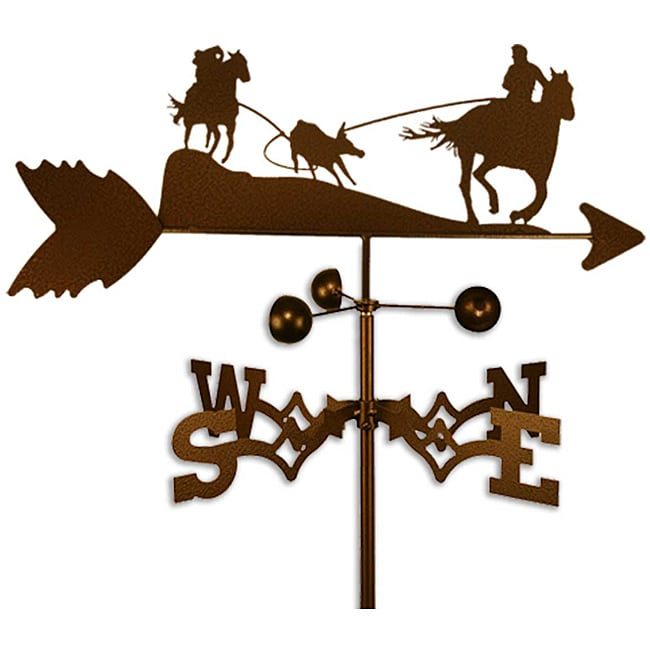 Handmade Cowboy on Horse Team Roper Weathervane