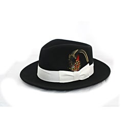 Ferrecci Men's Black Wool White Banded Fedora Hat