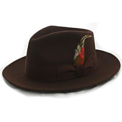 Ferrecci Men's Brown Wool Banded Fedora Hat