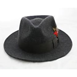 Ferrecci Men's Grey Wool Banded Fedora Hat