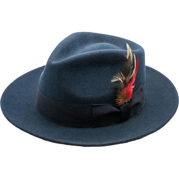 Ferrecci Men's Navy Wool Felt Banded Fedora Hat