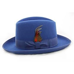 Ferrecci Men's 'Godfather' Blue Wool Fedora Hat
