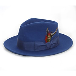Ferrecci Men's Royal Blue Wool Felt Fedora Hat