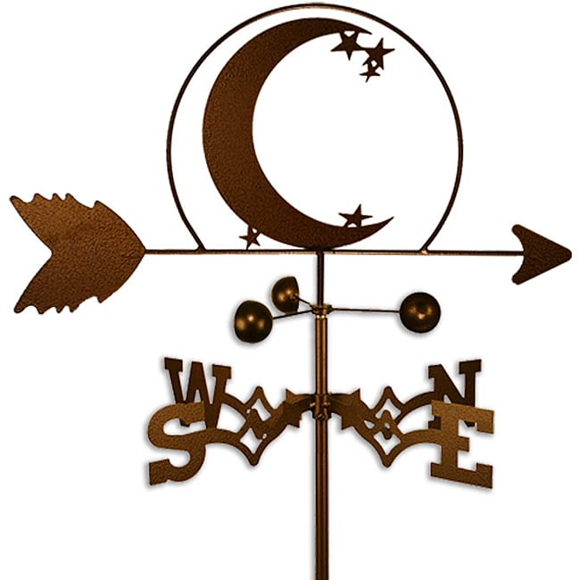 Handmade Crescent Moon and Star Weathervane