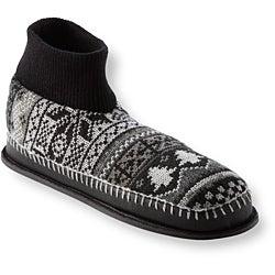 Muk Luks Men's 'Cullen' Black Nordic Knit Ankle Slippers