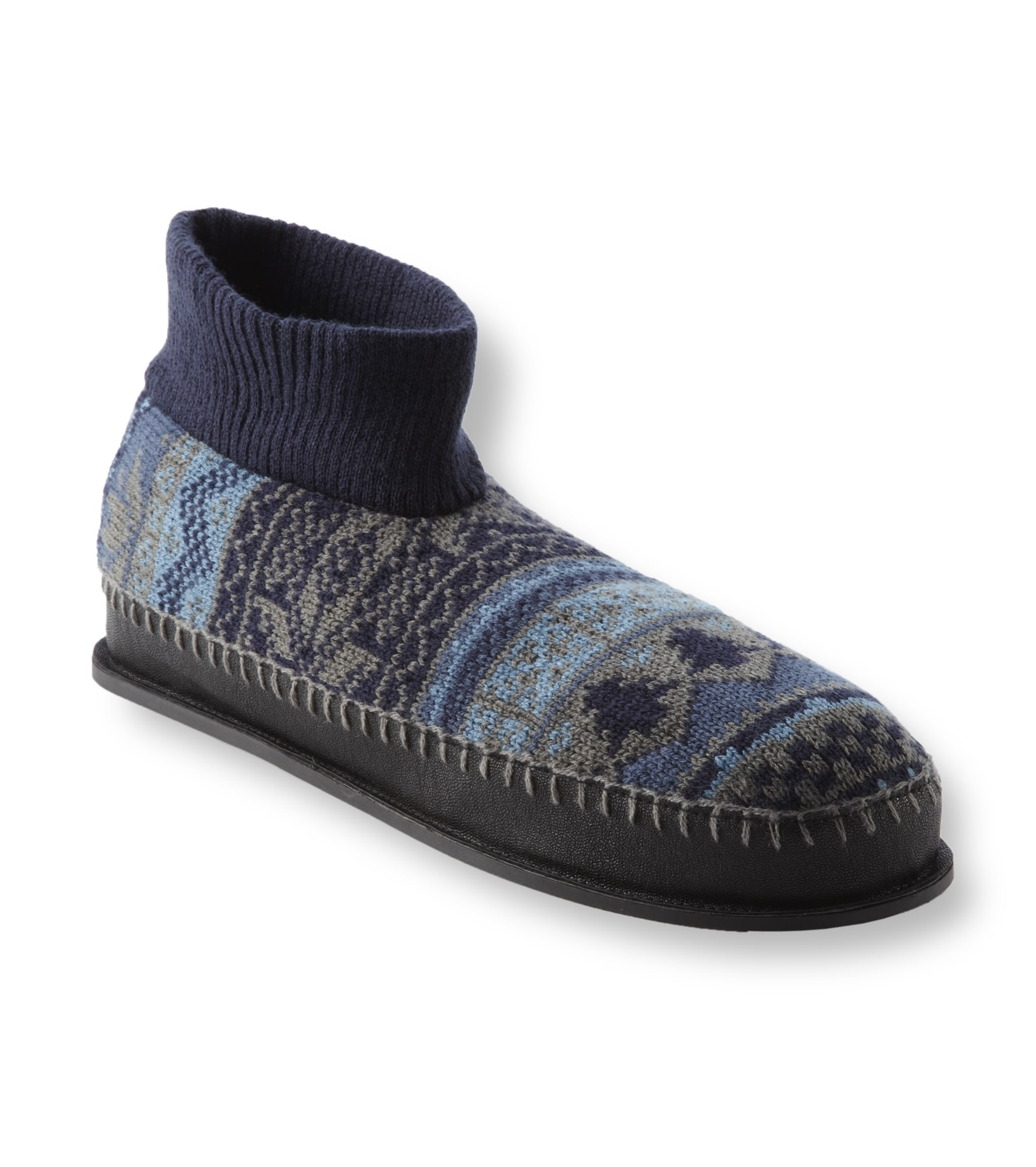 Muk Luks Men's 'Cullen' Blue Nordic Knit Ankle Slippers