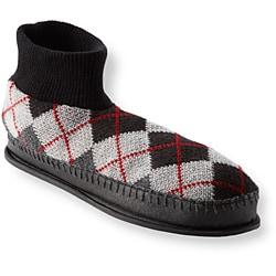 Muk Luks Men's 'Sheldon' Grey Argyle Knit Ankle Slippers