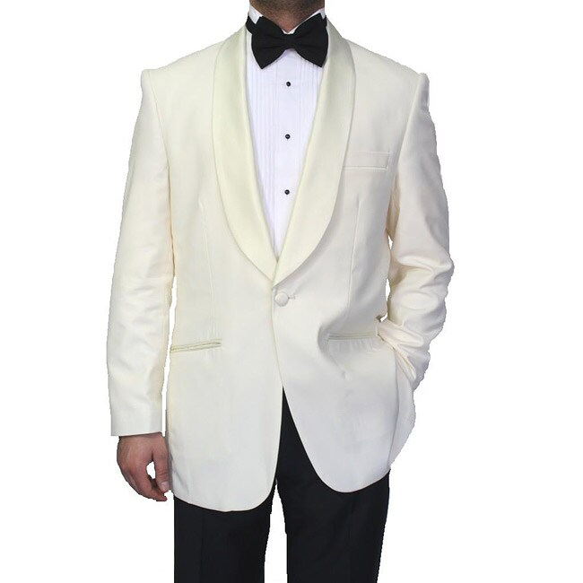 Ferrecci Men's Cream Polyester Blend Shawl Tuxedo Jacket