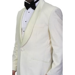 Ferrecci Men's Cream Polyester Blend Shawl Tuxedo Jacket