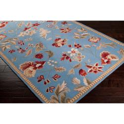 Hand-hooked Blue Andre Wool Rug (8' x 10')