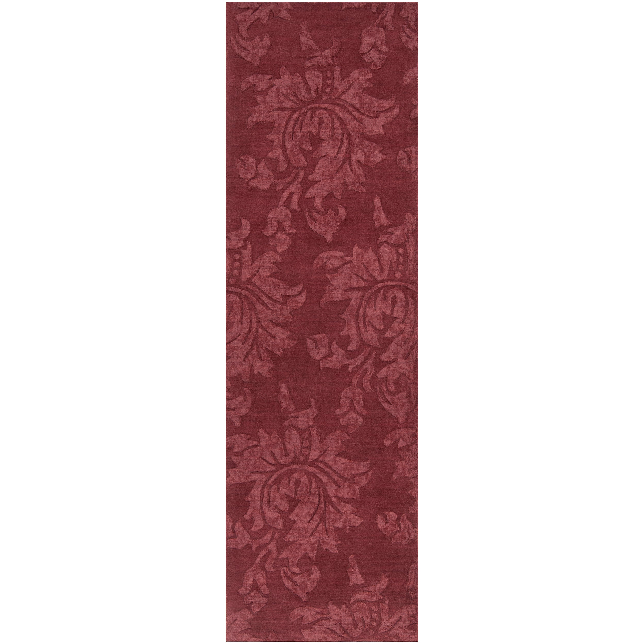 Hand-crafted Solid Red Damask Chrometo Wool Rug (2'6 x 8')