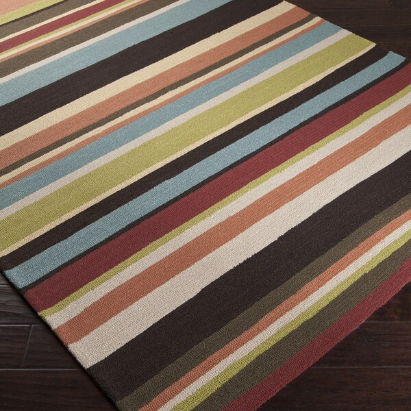 Hand-hooked Red Maren Indoor/Outdoor Stripe Rug (5' x 8')