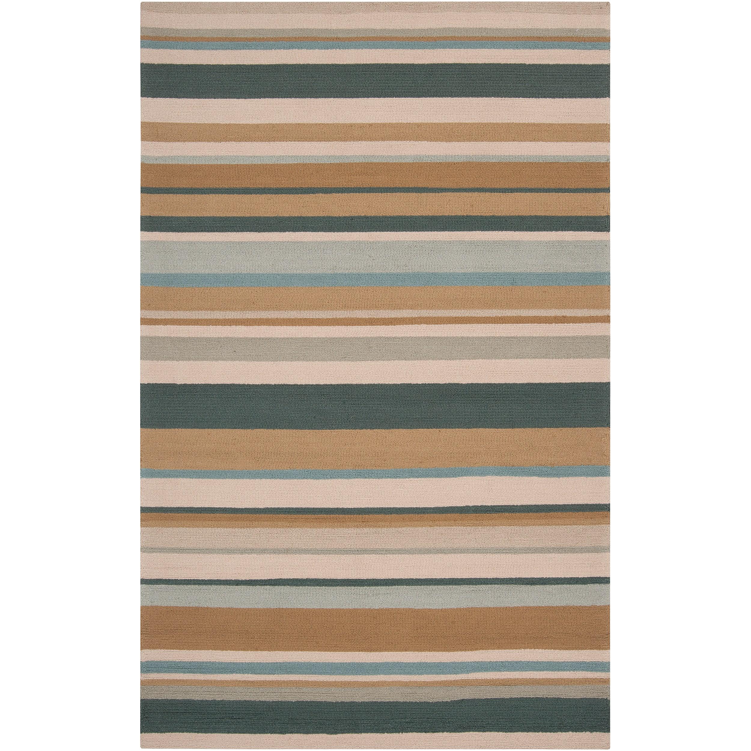 Hand-hooked Blue Caribou Indoor/Outdoor Stripe Rug (9' x 12')