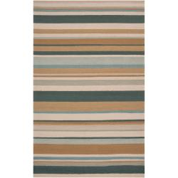 Hand-hooked Blue Caribou Indoor/Outdoor Stripe Rug (9' x 12')