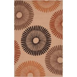 Hand-hooked Brown Wapiti Indoor/Outdoor Geometric Rug (9' x 12')
