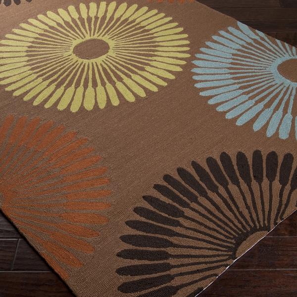 Hand-hooked Brown Cadotte Indoor/Outdoor Geometric Rug (5' x 8')