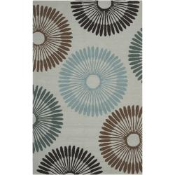 Hand-hooked Gray Lesser Indoor/Outdoor Geometric Rug (9' x 12')