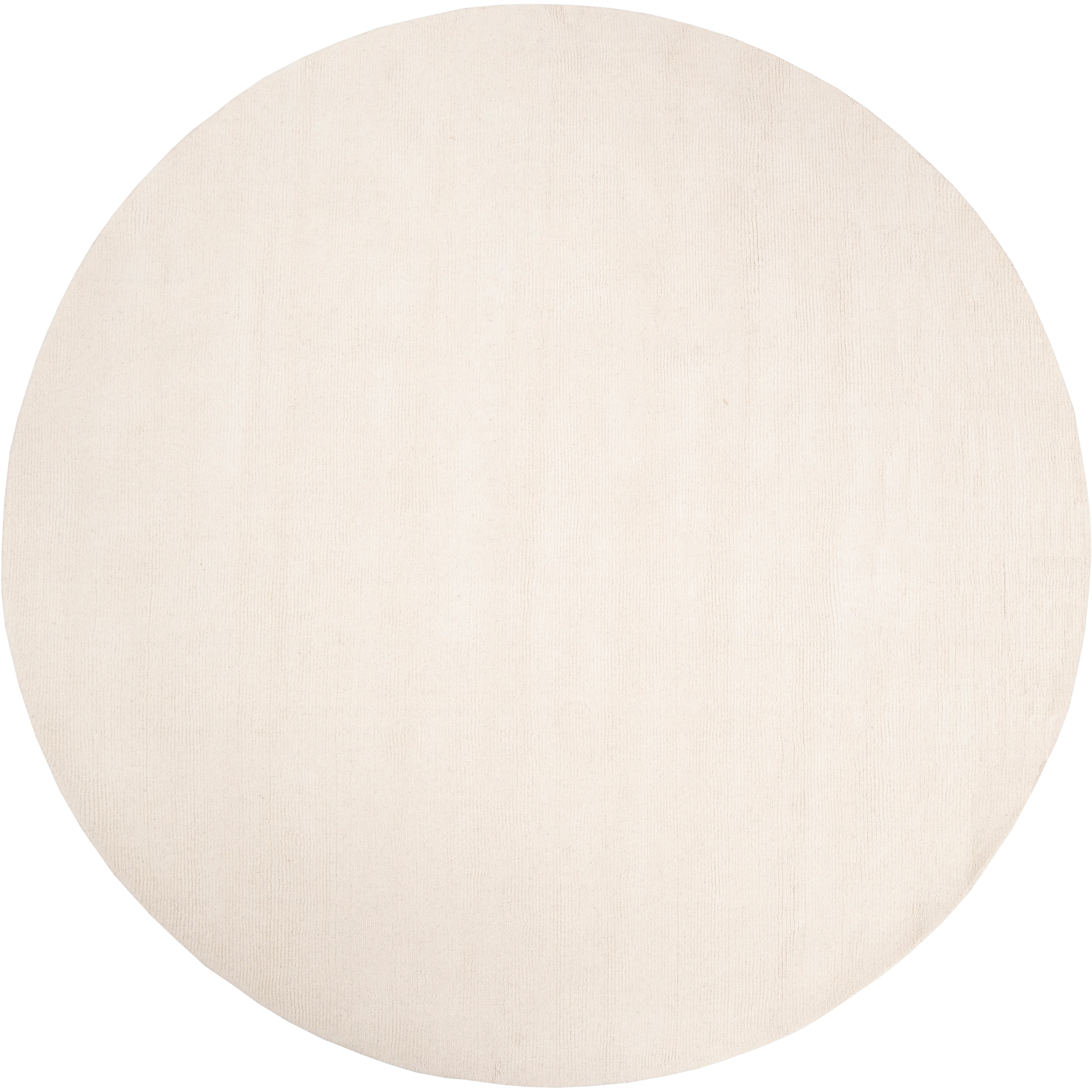 Hand-crafted Solid White Casual Climaco Wool Rug (6' Round)