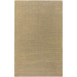 Hand-crafted Solid Pale Gold Casual Cnido Wool Rug (5' x 8')