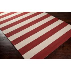 Hand-hooked Tan Miette Indoor/Outdoor Stripe Rug (9' x 12')