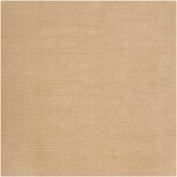 Hand-crafted Solid Pale Gold Casual Cnido Wool Rug (8' Square)