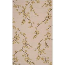 Hand-hooked Tan Astoria Indoor/Outdoor Floral Rug (9' x 12')