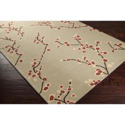 Hand-hooked Green Sunwapta Indoor/Outdoor Floral Rug (9' x 12')