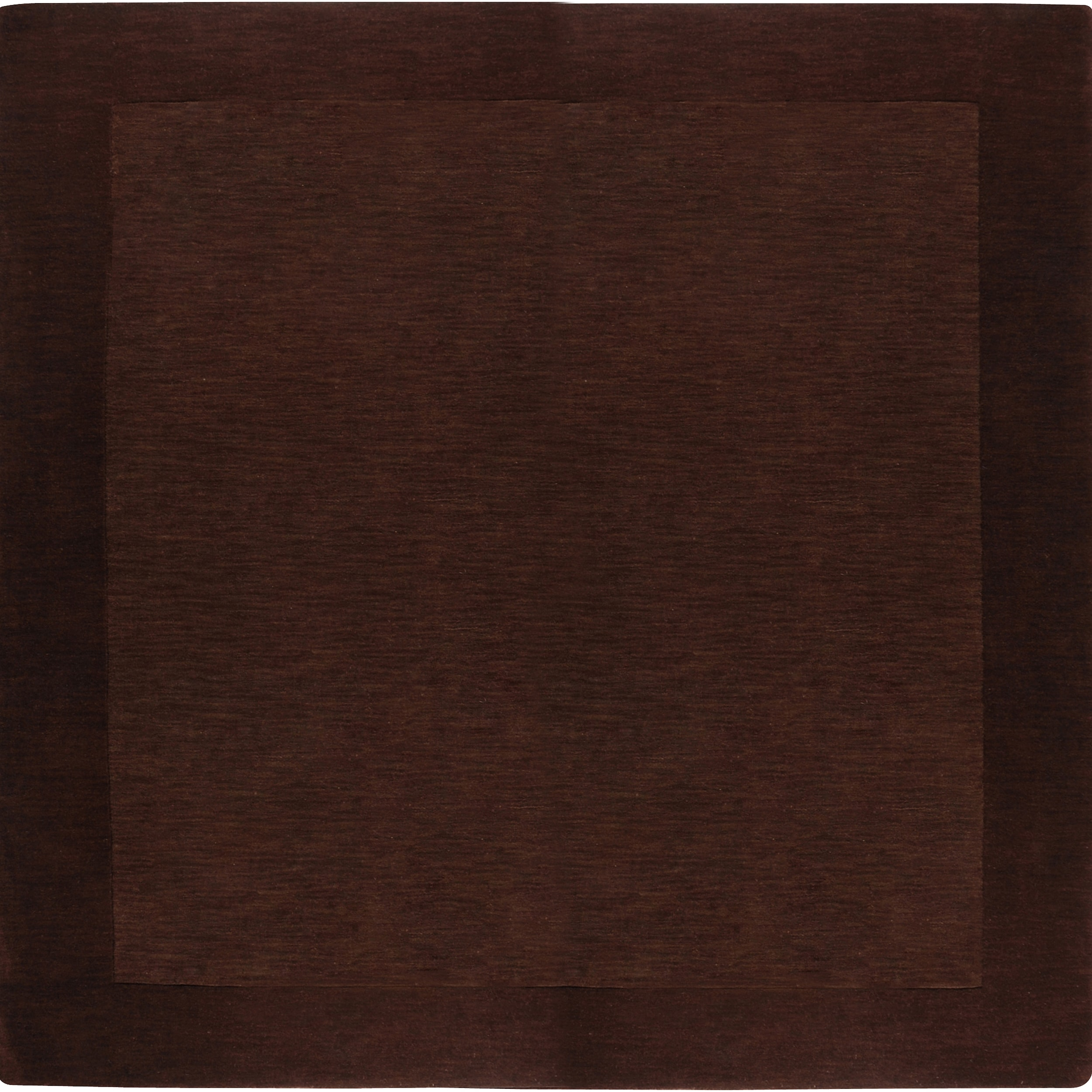 Hand-crafted Solid Brown Tone-On-Tone Bordered Counter Wool Rug (8' Square)