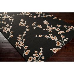Hand-hooked Black Chaba Indoor/Outdoor Floral Rug (9' x 12')