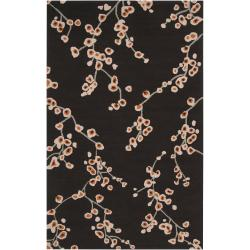 Hand-hooked Brown Chaba Indoor/Outdoor Floral Rug (9' x 12')