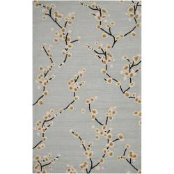 Hand-hooked Gray Scotia Indoor/Outdoor Floral Rug (9' x 12')