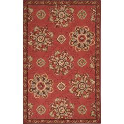 Hand-hooked Burgundy Labradore Indoor/Outdoor Medallion Rug (8' x 10')