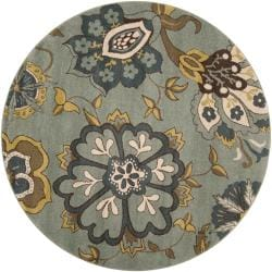 Meticulously Woven Contemporary Sea Blue Floral Counter Rug (6'7 Round)