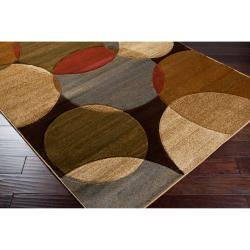 Meticulously Woven Brown Contemporary Circles Febri Geometric Rug (5'3 x 7'3)
