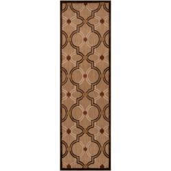 Woven Brown Allusion Indoor/Outdoor Moroccan Lattice Rug (2'6 x 7'10)