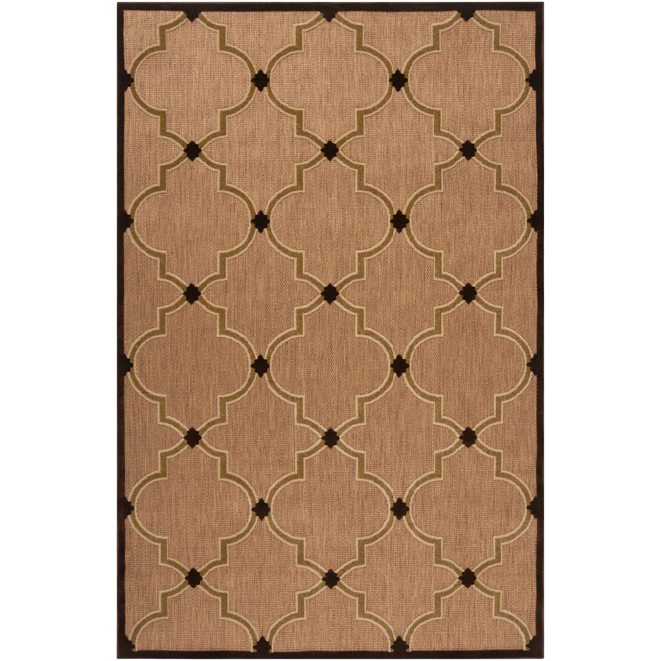 Woven Tan Remington Indoor Outdoor Moroccan Lattice Rug 3