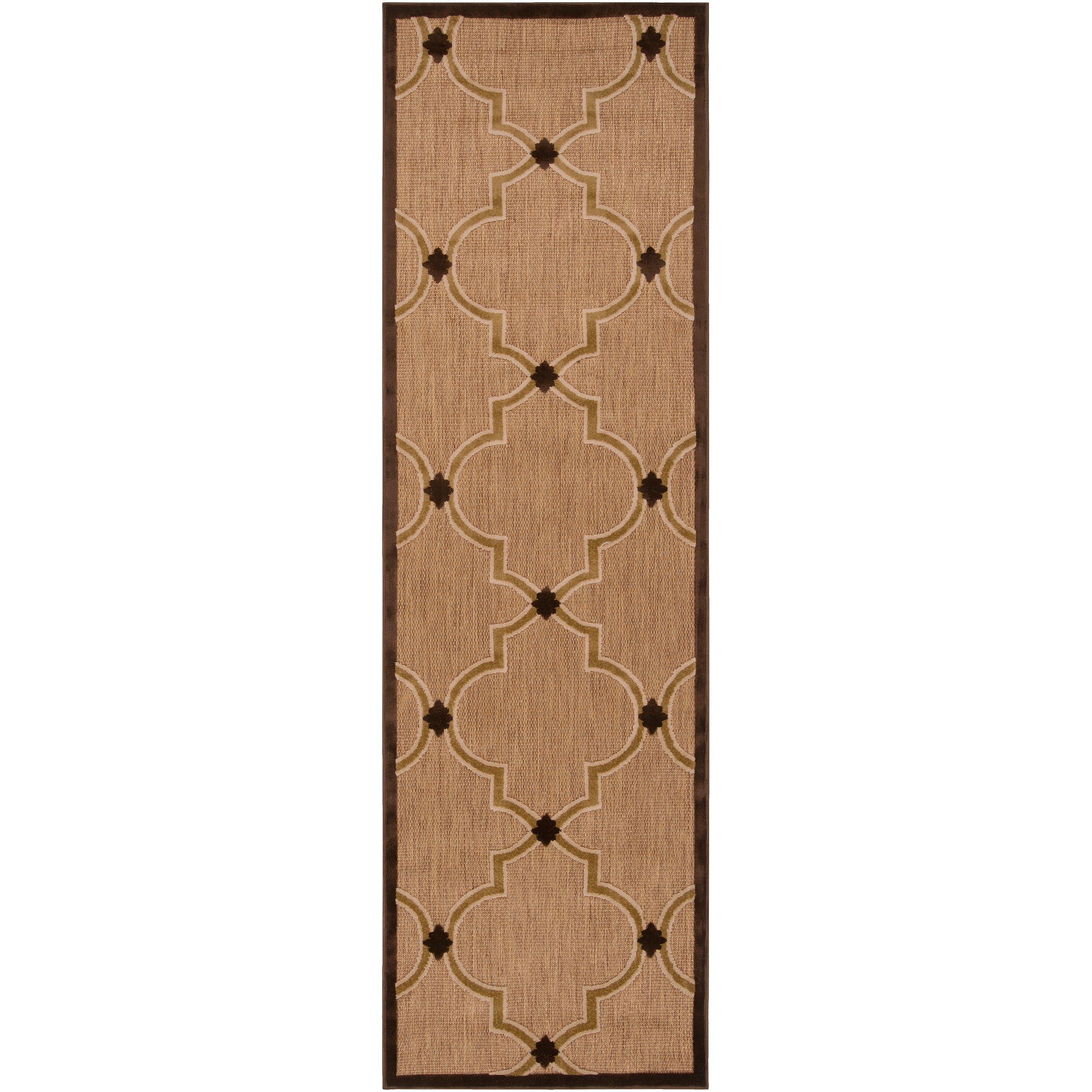 Woven Tan Remington Indoor/Outdoor Moroccan Lattice Rug (2