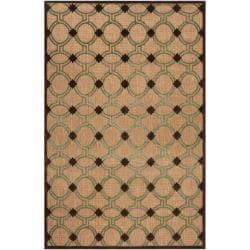 Woven Tan Portera Indoor/Outdoor Moroccan Lattice Rug (8'8 x 12')