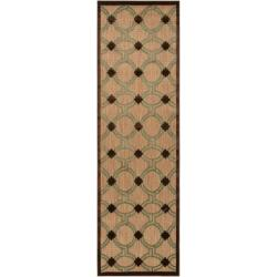 Woven Tan Portera Indoor/Outdoor Moroccan Lattice Rug (2'6 x 7'10)