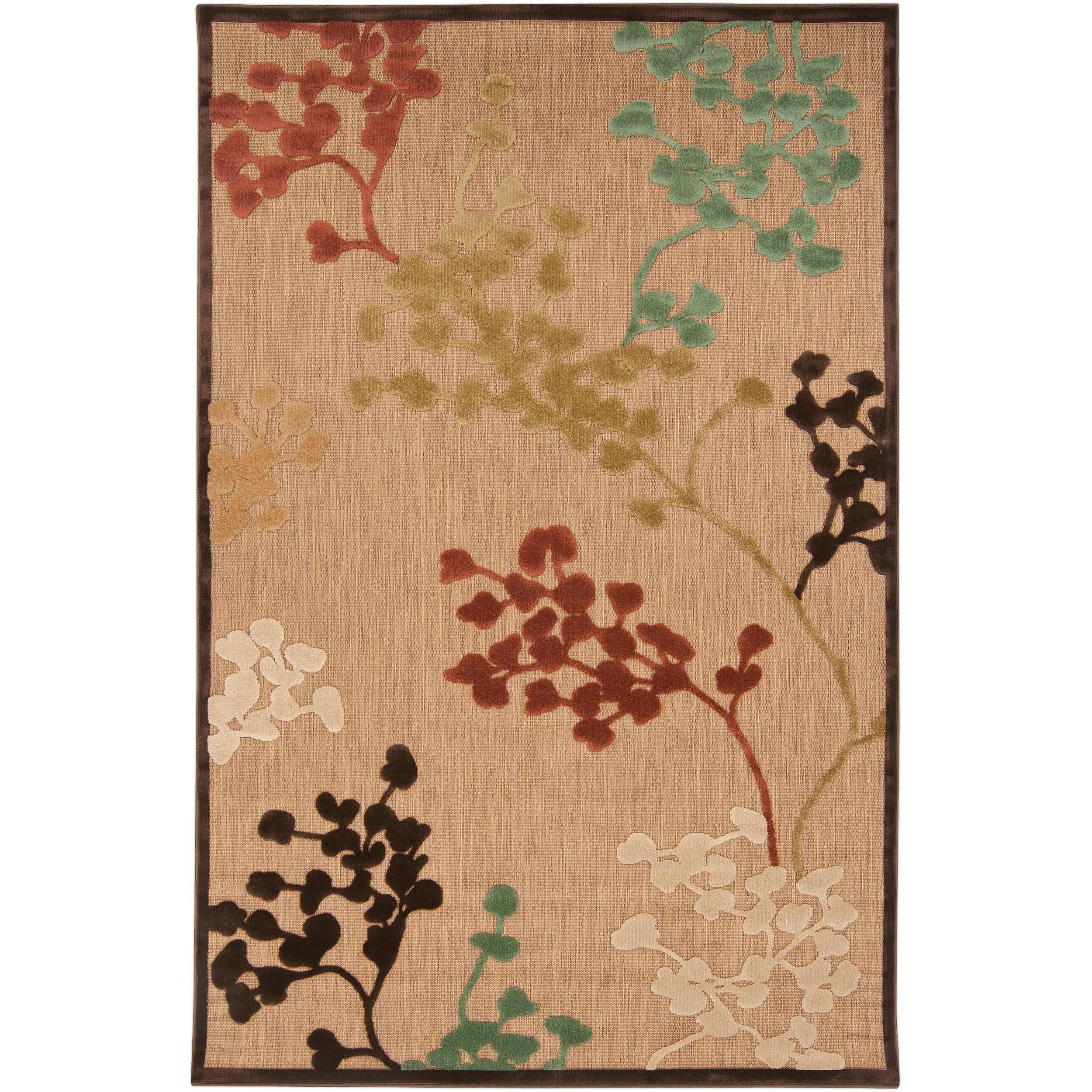 Woven Brown Zynx Indoor/Outdoor Floral Rug (3'9 x 5'8)