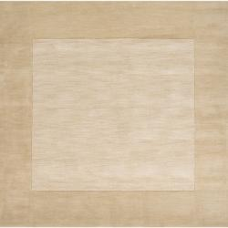 Hand-crafted Beige Tone-On-Tone Bordered Disposo Wool Rug (9'9 Square)
