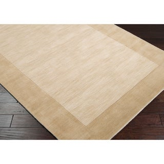 Hand-crafted Beige Tone-On-Tone Bordered Disposo Wool Rug (9' x 13')