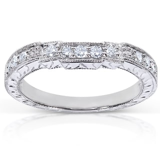 Annello 14k White Gold 1/4ct TDW Diamond Curved Wedding Band (G-H, I1-I2)