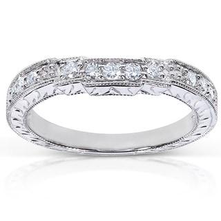 Annello 14k White Gold 1/4ct TDW Diamond Curved Wedding Band (G-H, I1-I2)