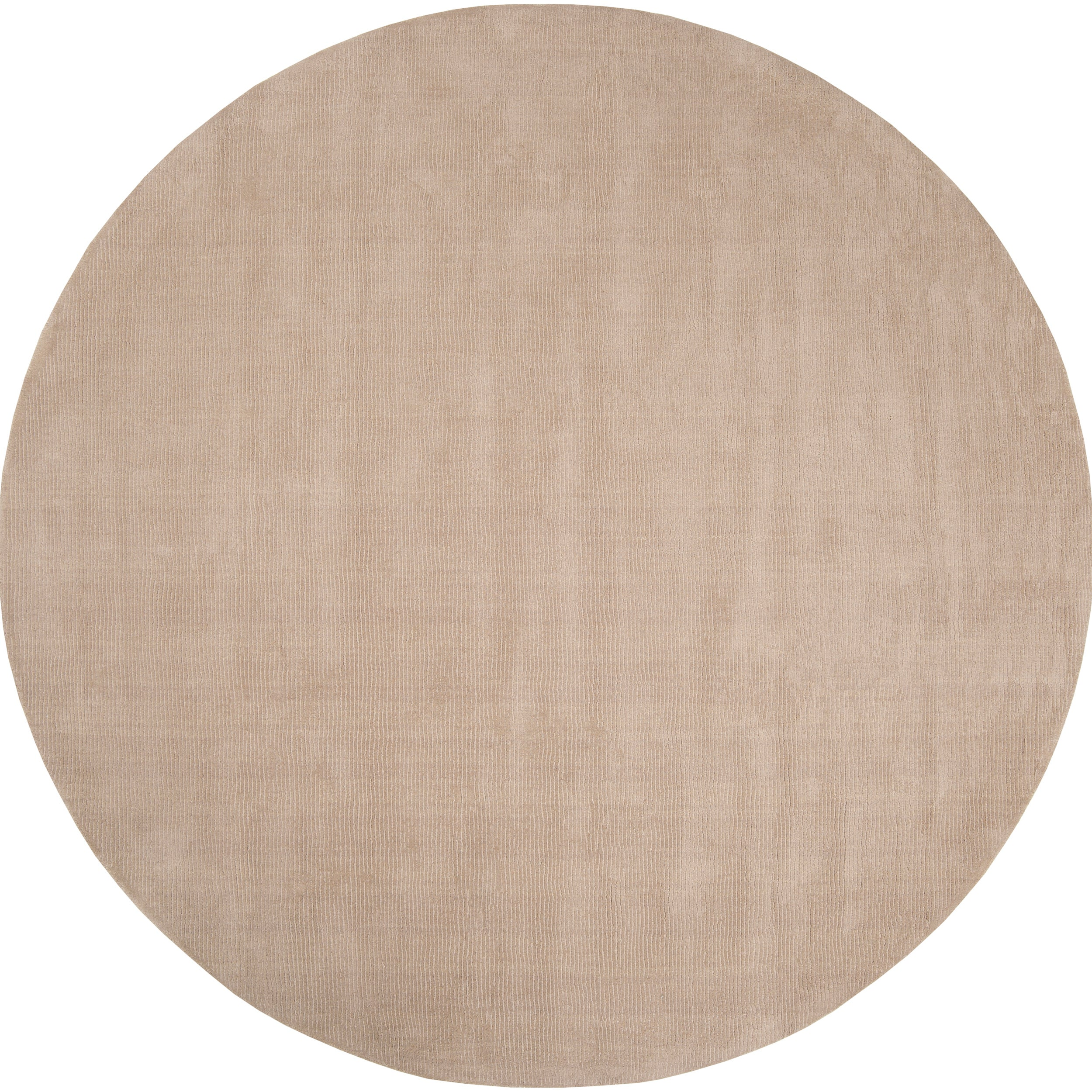 Hand-crafted Beige Solid Casual Dipson Wool Rug (8' Round)