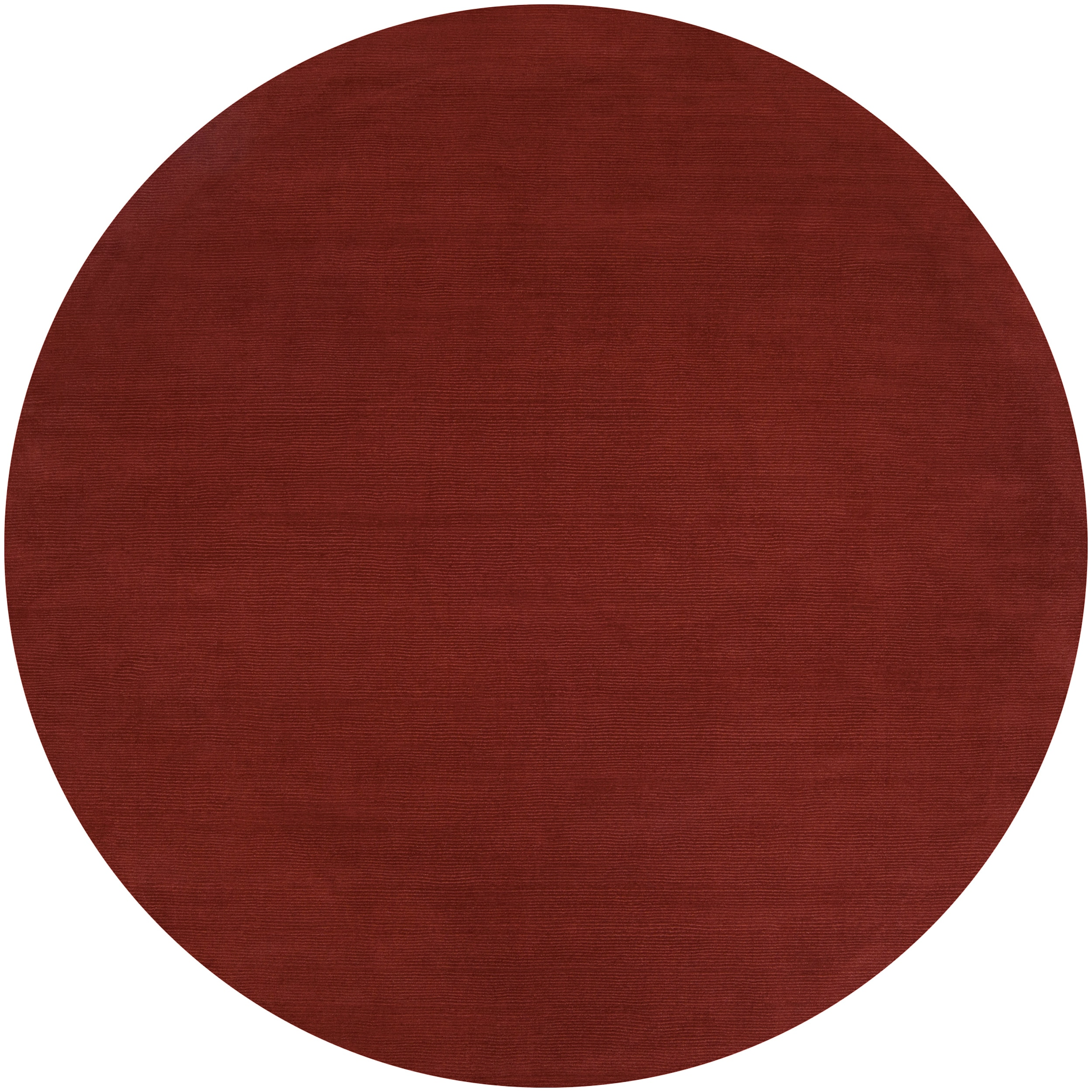 Hand-crafted Rust Red Solid Casual Diplo Wool Rug (6' Round)