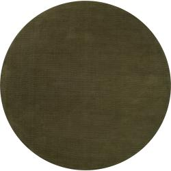 Hand-crafted Solid Dark Green Tone-On-Tone Bordered Dermato Wool Rug (8' Round)